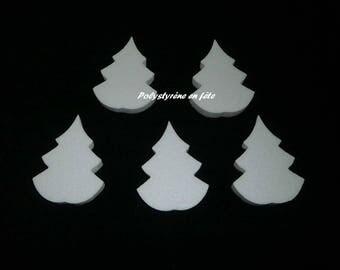 5 Sapins  de 11 cm en polystyrène -loisirs créatifs- déco- Noël- Hivers-montagne