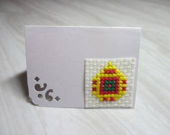 """Mini Card mark up embroidered """"Red, yellow and green Christmas ball"""""""