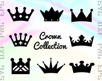 Crown SVG Files - Crown Dxf Files - Crown Clipart - Crown Cricut Files - King & Queen Crown Cut Files - Crown Png - Crown Silhouette