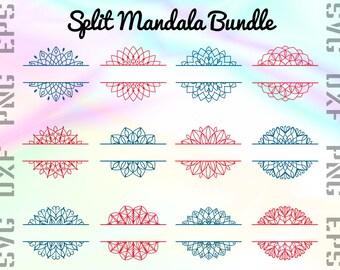 Split Mandala SVG Files - Mandala Split Dxf Files - Mandala Split Clipart - Mandala Split Cricut Files - Mandala Split Cut Files