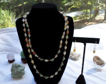 Multi Jade Double Strand Necklace with Earrings