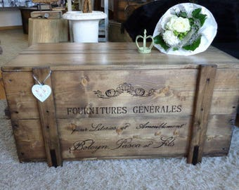"Chest wooden box cargo box bench coffee table ""Ameublement"""