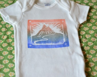 Baby Onesie Mountain Sunrise block Print body suite