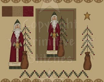 Graphics-Father Christmas-Primitive 8x10, 8.5x11 & Clip Art-INSTANT DOWNLOAD
