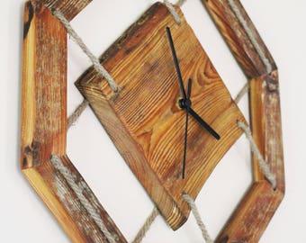 Handmade Wood Wall Clock - Handmade Clock - Vintage Wall Clock - Vintage Clock - Eco Wall Clock - Unique Wall Clock - Octagonal Home Decor