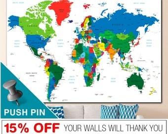 Push Pin World Map, Word Map Canvas, World Map Push Pin, World Map Print, World Map, World Map Wall Art, PushPin World Map, Map Canvas