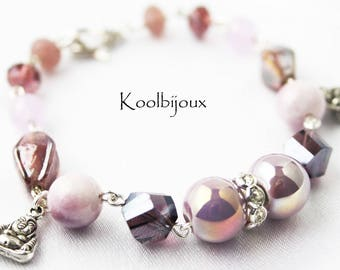 Purple stone and ceramic Buddha bracelet