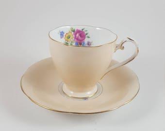 Pastel Peach Floral A.B.J. Grafton teacup