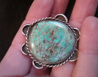Vintage Navajo Turquoise and Sterling Silver Ring  Native American Jewelry