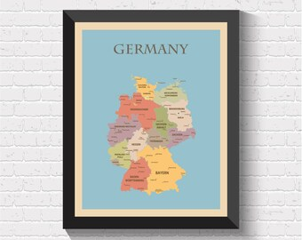 Germany Map, Germany Poster, Germany Print, Map of Germany, Germany Art, Germany Decor, Germany Map Print, Germany Art Print, Germany