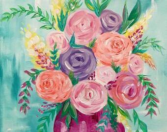 Flower Bouquet in a Pink Vase