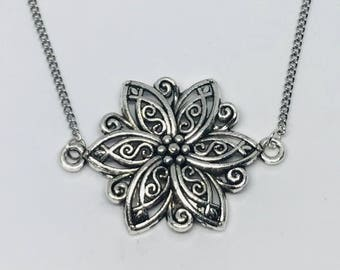 Silver Flower Double Connected Design Necklace