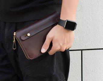 Men's Travel Wallet Organizer, Passport Clutch wallet, Travel Passport Holder, Boarding Pass Holder, Leather Passport Zipper Chocolate
