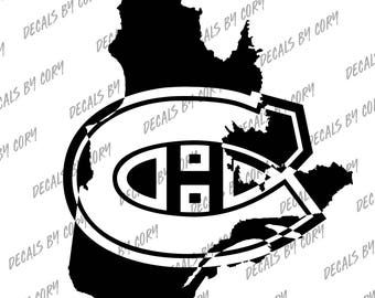Montreal Canadiens Quebec Province Outline Car Decal NHL Habs