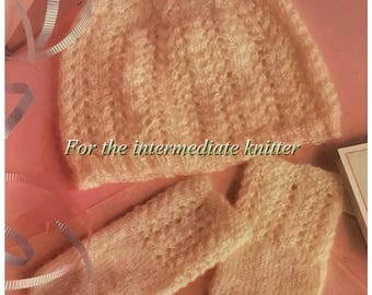 PDF Knit Baby's Lace Set (Cap And Mittens)