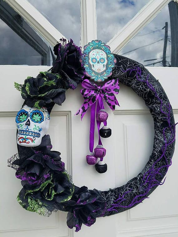 handmade halloween fall wreath dia de los muertos day of the dead sugar skull autumn decor