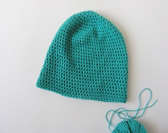 Slouchy baggy beanie. Handmade turquoise color hat. Classic cotton crochet spring beanie.