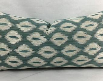 "12 x 24"" Teal Diamond Designer Lumbar Pillow Cover - Mid Century Modern Accent Pillow - Designer Throw Pillow"