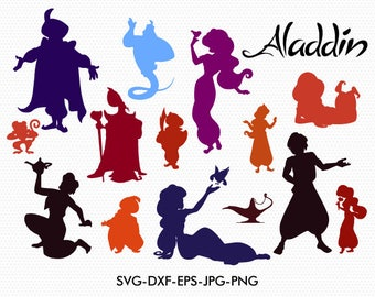 Disney aladin  silhouettes svg,aladin clipart, aladin jasmin silhouette svg,EPS png jpg files, Disney svg dxf for Silhouette Cameo or Cricut