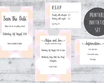 Custom Wedding Invitations, Personalized Wedding Stationary, Printable Wedding Invitation Set, Pastel, Save the Date, RSVP Card Template.