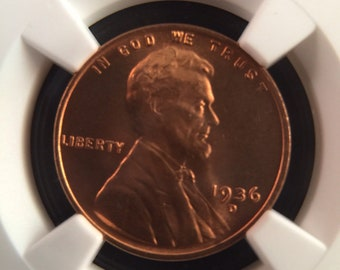 1936-D Lincoln Cent MS66RD NGC
