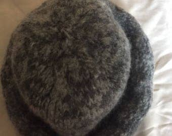 Warm 100% Wool Hat Hand Knit in Gray Tones