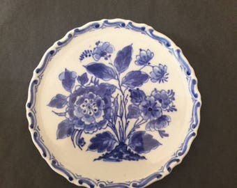 Rare Beauty De Porceleyne Fles Delft Blue and White Wall Plate with Flower Design