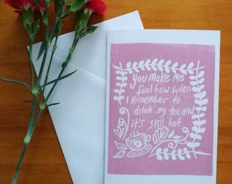 Linocut print love card or friendship card. Original print by hand.