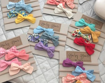 Custom Set of Baby Bows, Baby Headbands, Baby Girl Bows, Floral Bow