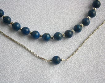 Gemstone Jewelry Lapiz Lazuli Double Chain Necklace // Sterling Silver Double Strand // Statement Necklace Royal Blue Bridal Jewelry