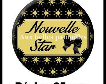Round cabochon resin 25 mm - new star stick (1215) - text, Word, fashion, fashion