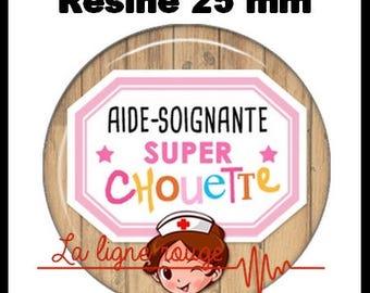 Cabochon resin 25 mm - help Soignante Super OWL stick (2246) - nurse, doctor, medical