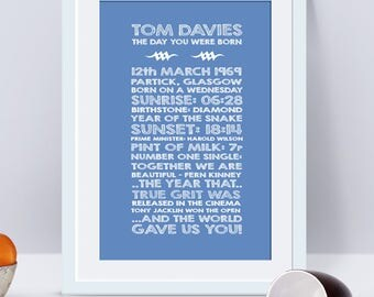 48 years old, 48th birthday gift, 48th present, personalised 48th print