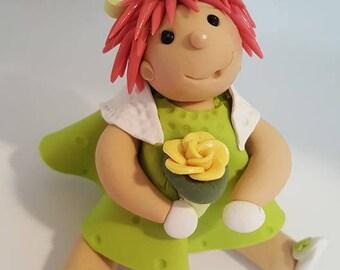 Little Redhead Girl holding rose green white