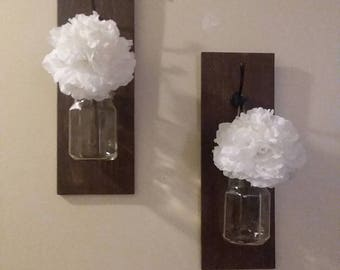 Set of Wooden Rustic Ball Jar Wall Sconces With Flowers