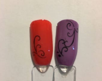 Scroll Nail Decal Designs