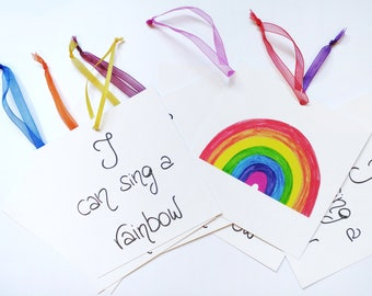 Original greeting card - i can sing a rainbow card - get well soon card - hand made card - get well card - cheer up card