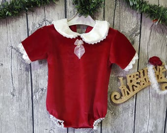photography prop SITTER ROMPER 6-12MTHS with matching headband  christmas red velvet
