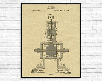 Nikola Tesla Steam Engine Patent Print, Tesla Invention, Tesla Poster, Tesla Patent, Tesla Wall Art, Tesla Engine, Steam Engine Poster