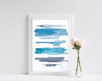 Watercolour Wall Art Print, Abstract Painting, Modern Minimalist,Navy Blue Decor,Printable Digital Download,Watercolor,blue print,minimalism