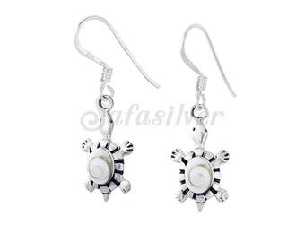 Sterling Silver Oxidised Turtle Earring With Shiva Eye Shell