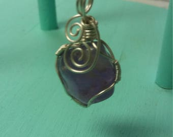 Genuine amethyst sterling silver wrapped necklace real sterling silver chain self confidence peace will power