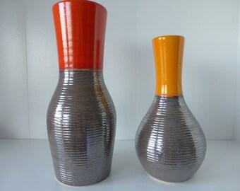 2 Rare Dumler Breiden Vases with Formnumber 116-25 and 116-21, West Germany 1970.