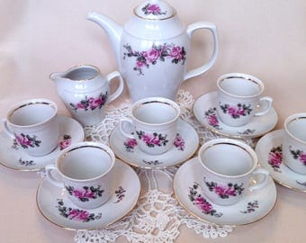 Vintage coffee set JL Menau, made in GDR, demitasse floral coffee set, coffeecup and saucer, a creamer and a coffee pot, antique coffee cups