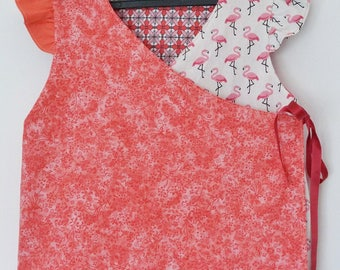 Reversible tunic 2/3 years Flamingo Pink and coral