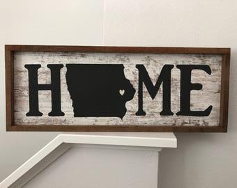 Iowa Home Sign | Barnwood Sign | Iowa | Hawkeyes | Cyclones | Panthers | Rustic | Farmhouse | BIG10