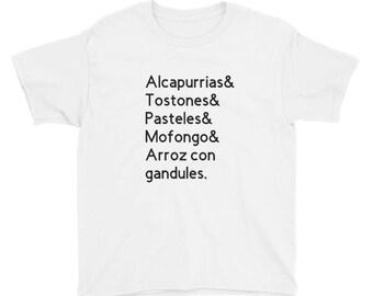 Puerto Rican Food - Youth Short Sleeve T-Shirt, Puerto Rico, Puerto Rico Tshirt, Alcapurria, Tostones, Pasteles, Mofongo