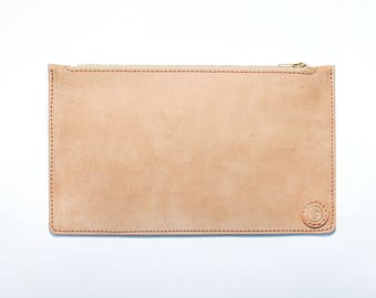 Leather pouch beige