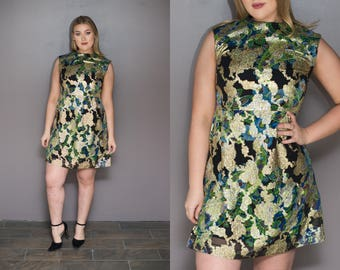 60s Metallic Floral Mini Dress Green Black Gold Embroidered Empire Waist Dress NYE Holiday Dress Sleeveless 1960s Dress