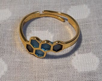 Honeycomb / molecule gold plated ring with sky blue + ebony black detail.  Jewellery. Adjustable to fit.  Choose colours.